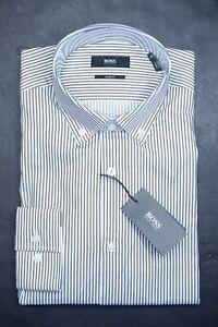 Hugo Boss $185 Ismar Men's Slim Fit Med Brown Striped Cotton Dress Shirt 38 15