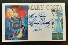 """""""DISNEY'S SLEEPING BEAUTY"""" MARY COSTA AUTOGRAPHED 3X5 INCH INDEX CARD"""