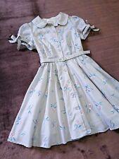 Secret Honey Dress Japan-M Sliver White Light Gray Stripe Embroidery Hime Lolita
