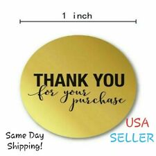 (U Pick Qty) Round Gold THANK YOU for Your Purchase Stickers Package Seal Labels
