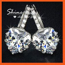 18K WHITE GOLD GF E228 BIG HEART lab DIAMOND WOMENS WEDDING DRESS HOOP EARRINGS