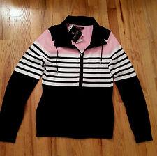Lauren Ralph Lauren Striped Black/Pink Full-Zip Long Sleeve Sweater Jacket Top L