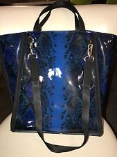 French Connection Snake Print Tote Hobo Bag Blue MULTI NEW