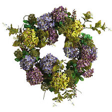 NEW 24 IN MIXED HYDRANGEA LARGE WREATH-DOOR/WALL MULTICOLORED-NEARLY NATURAL
