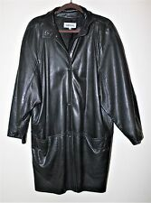 Women's lined black soft leather trench coat. 3/4 sleeves, Size S. NWOT. EFREM