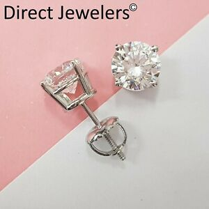 2.05ct ROUND CUT Certified diamond stud earrings 14k WHITE GOLD D VS2 NATURAL