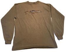 Vtg Orvis Made In USA Long Sleeve Sweatshirt Mockneck Mens Large Embroidered