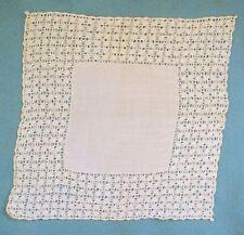STUNNING Antique Vintage PULLED THREAD white WEDDING Hanky Handkerchief ESTATE