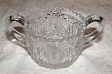 BEAUTIFUL ANTIQUE 1910 INDIANA GLASS CO. PRESSED GLASS CHILD SIZE SUGAR BOWL-EUC