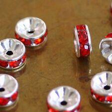 10 Perles Spacers RONDELLES Métal/Strass-ROUGE  4 x 8 mm  trou central 2 mm