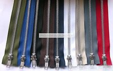 YKK METAL SILVER TEETH OPEN ENDED ZIP ( CHOICE OF LENGTH & COLOUR )