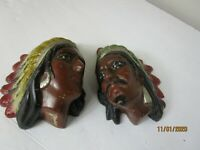Vintage Set of Chalk Ware Head Indian Native American Wall Hanging BANKS