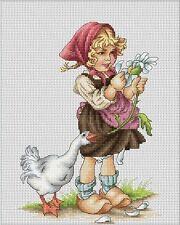 Cross Stitch Kit Girl with Goose B1047