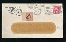 FRANCE POSTAGE DUE 1920 from USA WINDOW ENV.30c HUDSON TERMINAL HERZFELD + STERN