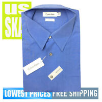 Calvin Klein Men's NWT Cotton Blue SLIM fIT Button Front LS Shirt 17 34/35
