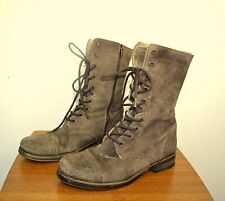 ALL SAINTS Brown Suede Leather Sheepskin Lined Military Boots Size 40 UK 7