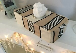 CHARCOAL TAUPE IVORY BOLD STRIPED KLEENEX OBLONG FABRIC TISSUE BOX COVER