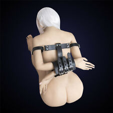 Black PU Leather Arm Restraint Hand Body Harness Handcuffs Lockable Armbinder