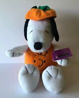 """HALLMARK PEANUTS COLLECTION PUMPKIN SNOOPY W/CHARLIE BROWN FACE 14"""" PLUSH TOYS"""