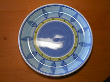"""Caleca Italy BLUE MOON Set of 4 Large Dinner Plates 11 3/8"""" Blue Green"""