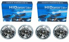 "5-3/4"" Crystal Clear Glass Headlight Headlamp 6000K HID Kit White Light Bulb Set"