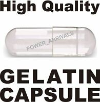 2000 SIZE 00 EMPTY GELATIN CAPSULES (Kosher) GEL CAPS PILL COLOR - CLEAR