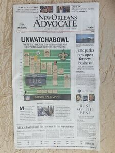 """The New Orleans Advocate Newspaper  """"UNWATCHABOWL"""" (ENTIRE PAPER)"""