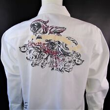 Hawks Bay Mens Long Sleeve Shirt Snap Button White Size Large