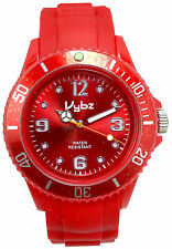 VYBZ Red Silicone Band Wristwatch Unidirectional Bezel Glow in the Dark Markers