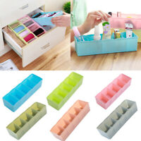 5 Cells Plastic Organizer Storage Box Tie Bra Socks Drawer Cosmetic Divider Well