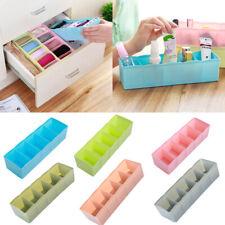 KE_ 5 Cells Plastic Organizer Storage Box Tie Bra Socks Drawer Cosmetic Divide