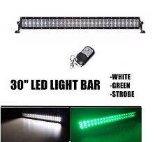 "GREEN WHITE Strobe Dual Color LED 30"" 180W Led Light Bar Hog Hunting Offroad"