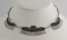 Zuni Pawn Native American Sterling Silver Petite Point Turquoise Choker Necklace