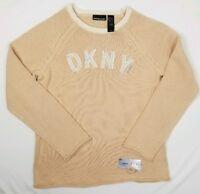 Vintage Womens DKNY Jeans Knit Crewneck Sweater Beige 100% Cotton Size Large NEW