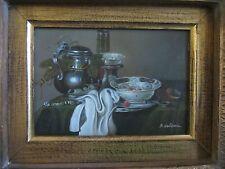 A. Glenn signed original still life oil painting on board of a teapot/bowl MINT!