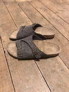 Birkenstock men's grey slip on shoes / sandals, size 10 / Eur 45.