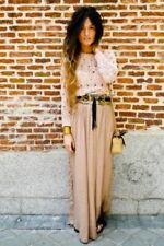 Zara Pale Brown Flowy Silky Flowing Bloggers Maxi Long Maxi Skirt M