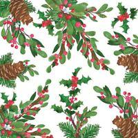 """Weihnachten Stechpalme Tannenzapfen Rot 3-PLY 20 Papierservietten 33cmx13 """"–"""
