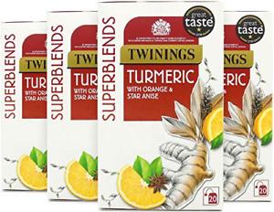 Twinings Superblends Turmeric, 80 Tea Bags, Multipack of 4 x 20 Bags