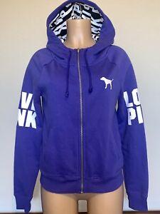 💜 EUC 2014 Victorias Secret PINK LOGO Full Zip Hoodie SWEAT SHIRT Jacket Small