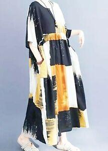 Floaty Art Deco Oversized cotton  boho Midi Loose Autumn Hippy Pockets dress 14