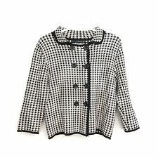 NWOT Willi Smith Womens L Black White Houndstooth Long Sleeve Crop Blazer