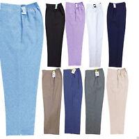 Womens Ladies Half Elasticated Stretch Waist Work Office Trousers Work Pants New