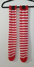 Childrens red and white stripey stockings (same material as tights)