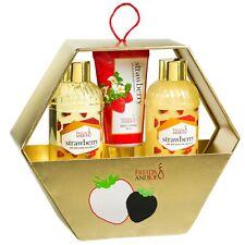 Bath & Body Holiday Gift Set in Gold Hexagon Box Strawberry Fragrance+Free Gift