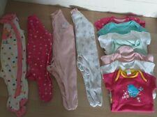 BABY GIRLS NEWBORN FIRST SIZE UPTO 9LB BABYGROW SLEEPSUIT AND VESTS BUNDLE