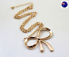 Women Lady Fashion Girls Retro Gold color Bow Simple Short Necklace Pendant