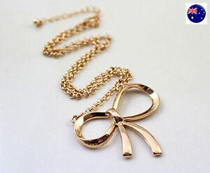 Women Lady Fashion Girls Retro Gold color Bow Simple Short Necklace Pendant