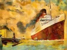 SS Francia Nave Da Crociera TRANSATLANTICO Ocean acquerello Poster Art Print 12x16 pollici 473py