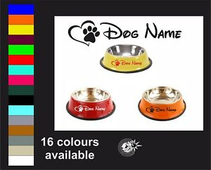 2x Personalised Dog Pet Puppy Bowl Dish Vinyl Sticker Stickers Decal Hart & Paw